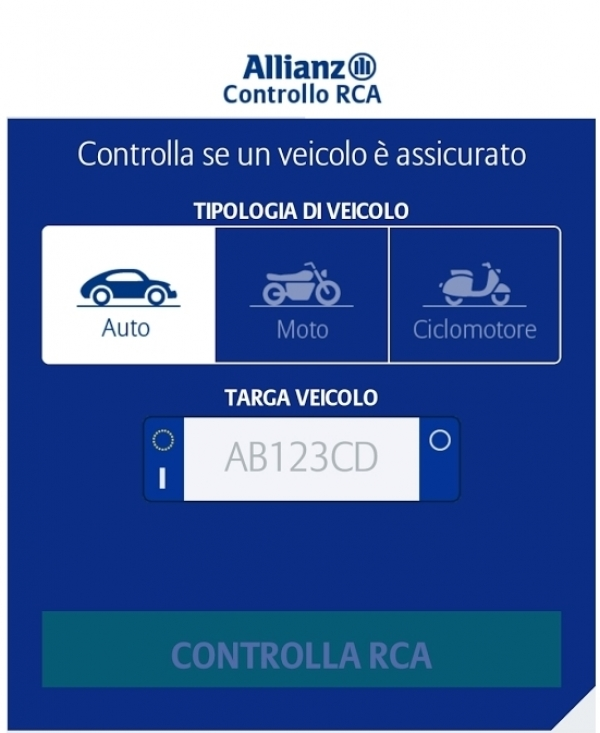 "L'App ""Allianz Controllo RCA"""